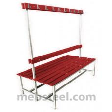 Скамья двухсторонняя для спортивной раздевалки (пластик) 1000х740х1680
