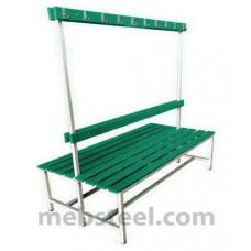 Скамья двухсторонняя для спортивной раздевалки (пластик) 1500х760х1680